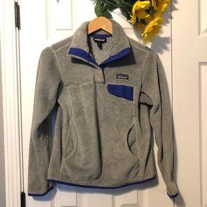 Patagonia Gray Snap- T Fleece Pullover Hoodie